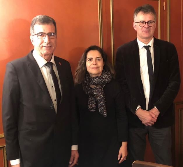 photo du Directeur général, Monsieur Mohamed SEBGUI  (ONICL), le Président de  France Export Céréales, Monsieur Philippe HEUSELE et la Directrice générale de FranceAgriMer, Madame Christine AVELIN,