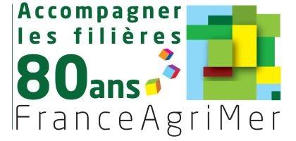 Logo Aniversaire de franceagrimer pour les 80 ans d'accompagnement des filières agricoles et de la pêche