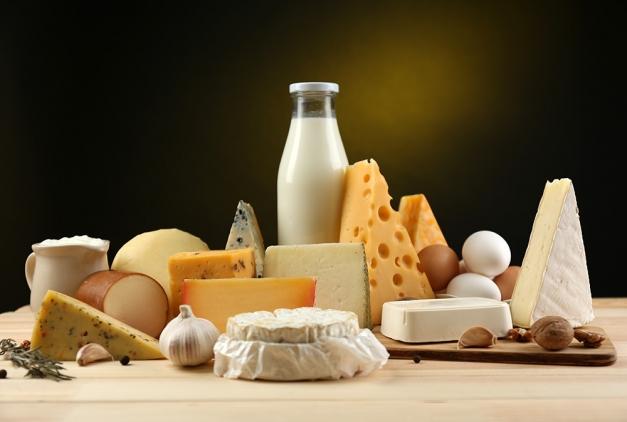 ensemble de produits laitier