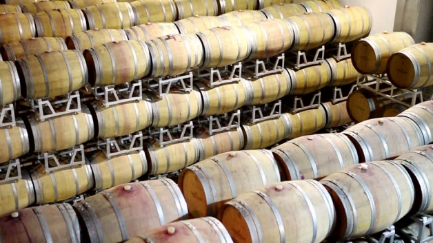 photo de bariques de vins